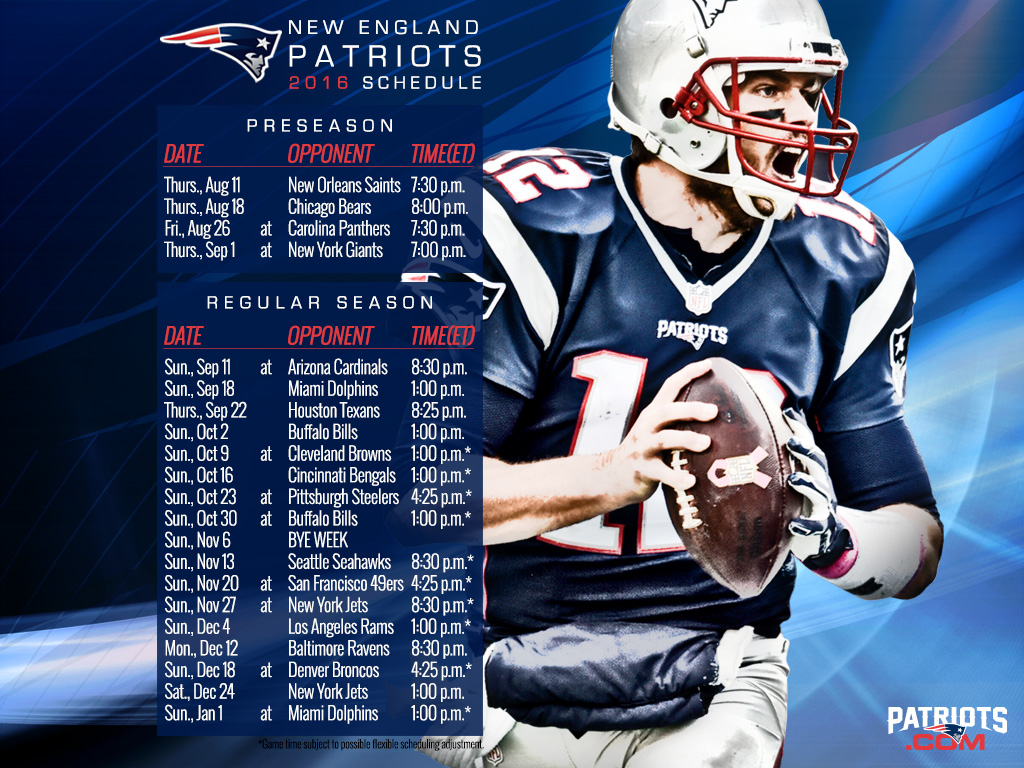 New England Patriots Schedule 2016 To 2020 Schedule   New England Patriots Club of The VillagesNew England